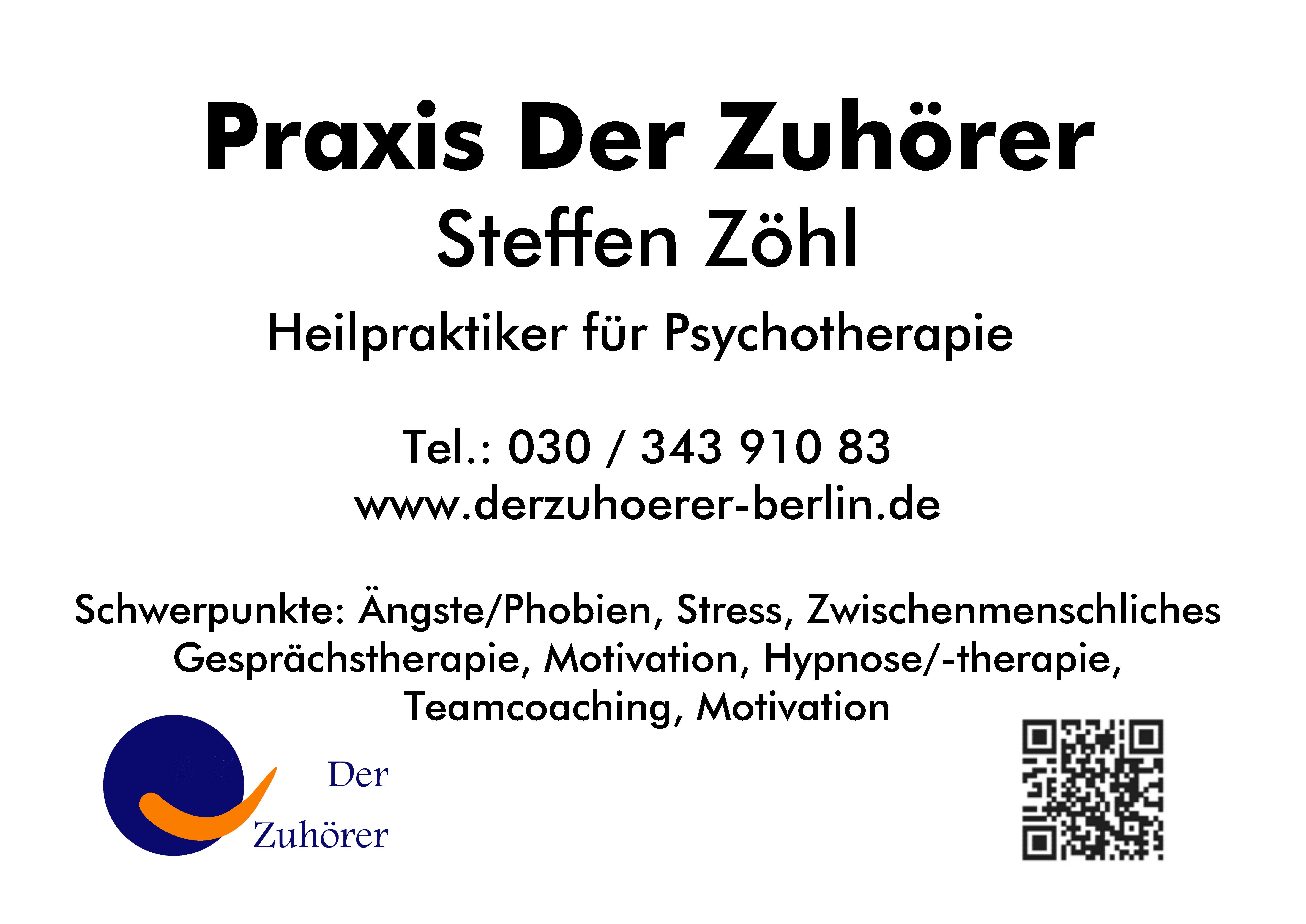 Hypnose Angst Phobie Berlin © Praxis Der Zuhörer - Steffen Zöhl, 2017
