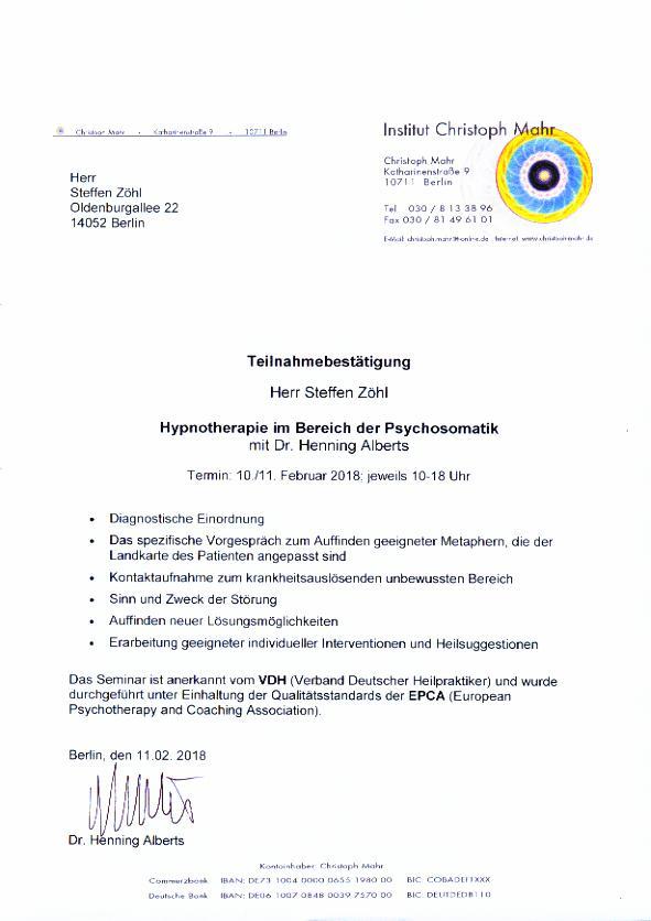 Hypnotherapie Psychosomatik 2018 © Praxis Der Zuhörer - Steffen Zöhl, 2018