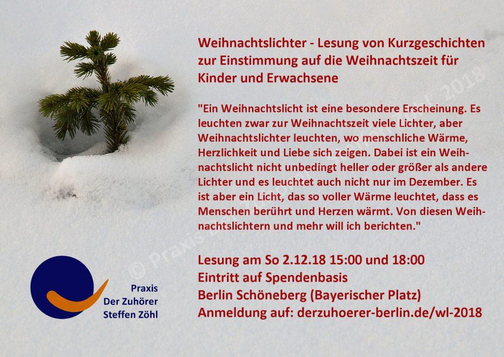 Praxis Der Zuhörer Lesung Weihnachtslichter aus Herzgeschichten 2.12.18 kostenfrei